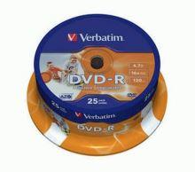 VERBATIM DVD-R Inkjet Printable 16x/4.7GB 25ks