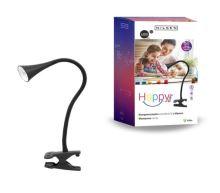NILSEN LED stolní lampa HAPPY klips 2,5W, černá  PX028
