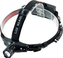 Solight čelová LED svítilna, 3W Cree LED, černočervená, 3x AAA   WH18