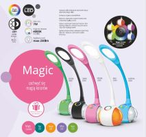 NILSEN LED stolní lampa MAGIC dotyková, stmívatelná, 7W, barev.podsvícení, černá   US004