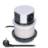 Solight prodlužovací přívod, 3 zásuvky+2xUSB, stříbrný, 1,5m, výsuvný blok zásuvek, kruhový tvar  PP100USB