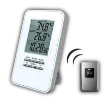 Solight bezdrátový teploměr, teplota, čas, budík, bílý  TE44