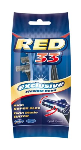 Pánský holící strojek RED33 typ44003 2břity s výkyvnou hlavicí
