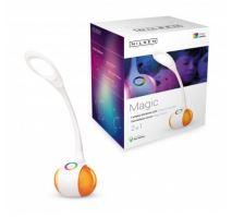 NILSEN LED stolní lampa MAGIC dotyková, stmívatelná, 7W, barev.podsvícení, bílá   US003